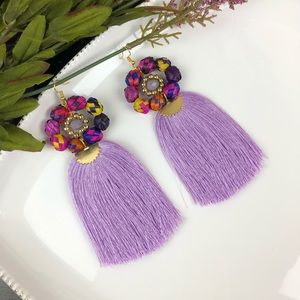 Purple tassel earrings handmade costume jewelry